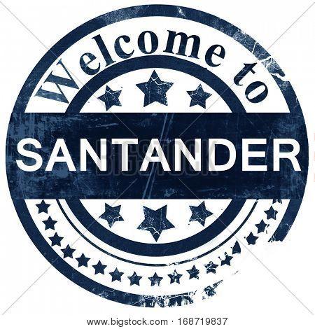 Santander stamp on white background