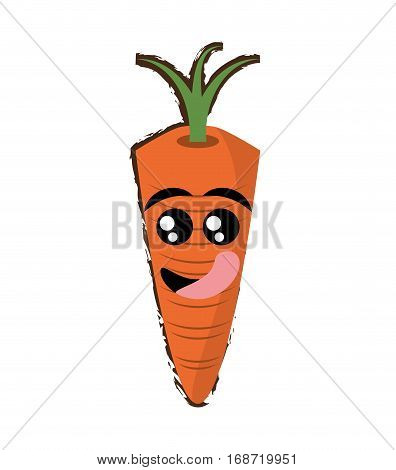 carrot expressions hungry face icon, vector illustration