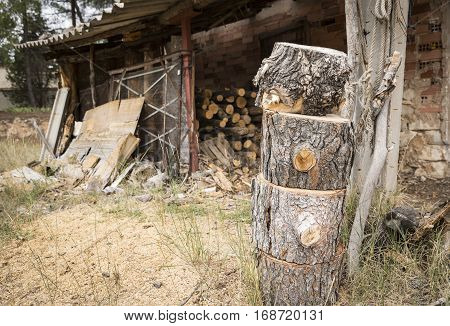 firewood logs on a barn in the countryside