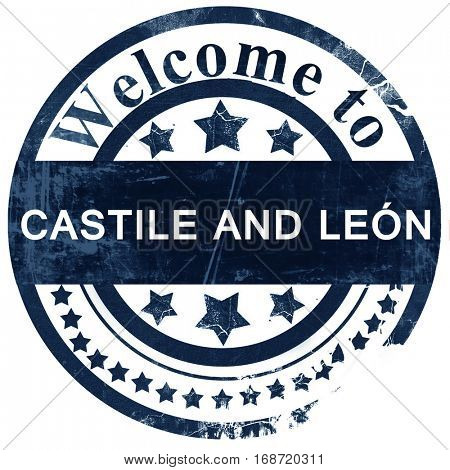 Castile and leon stamp on white background