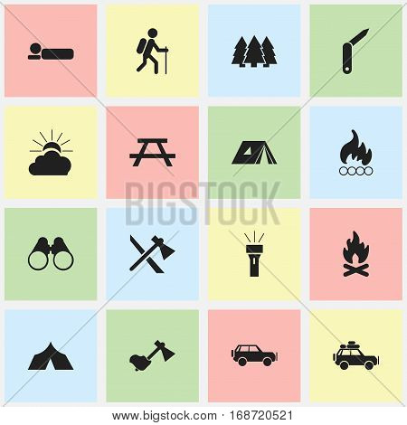 Set Of 16 Editable Camping Icons. Includes Symbols Such As Lantern, Tomahawk, Refuge And More. Can Be Used For Web, Mobile, UI And Infographic Design.