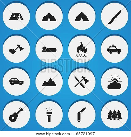 Set Of 16 Editable Trip Icons. Includes Symbols Such As Clasp-Knife, Bedroll, Blaze And More. Can Be Used For Web, Mobile, UI And Infographic Design.