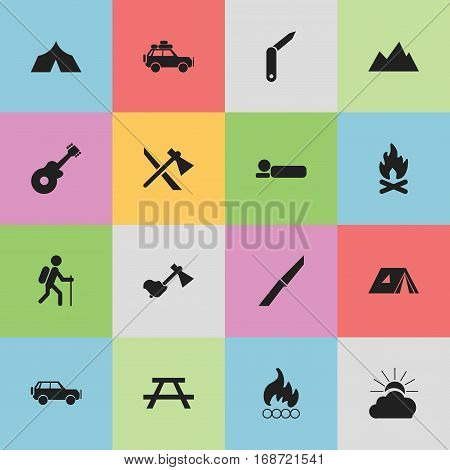 Set Of 16 Editable Trip Icons. Includes Symbols Such As Refuge, Clasp-Knife, Bedroll And More. Can Be Used For Web, Mobile, UI And Infographic Design.