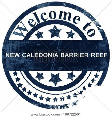 New caledonia barrier reef stamp on white background