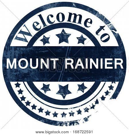 Mount rainier stamp on white background