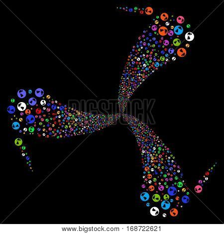 Earth fireworks swirl rotation. Vector illustration style is flat bright multicolored iconic symbols on a black background. Object twirl organized from random icons.