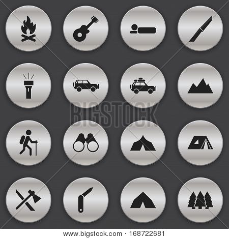 Set Of 16 Editable Travel Icons. Includes Symbols Such As Tomahawk, Tepee, Pine And More. Can Be Used For Web, Mobile, UI And Infographic Design.