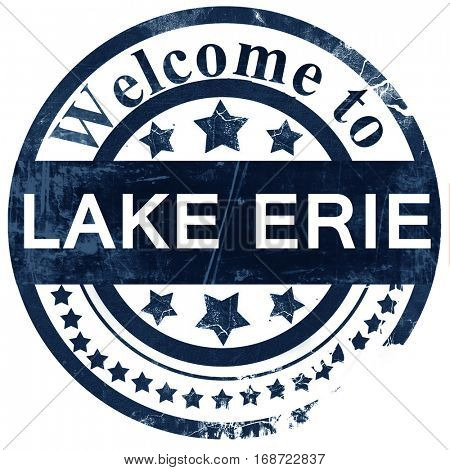 Lake erie stamp on white background