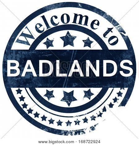 Badlands stamp on white background