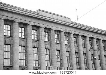 The former building of the German Embassy built in 1911-1913 under the project of Peter Behrens in St.Petersburg Russia. Black and white.