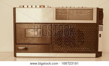 Vintage of Radio on white background Antique of Transistor radio