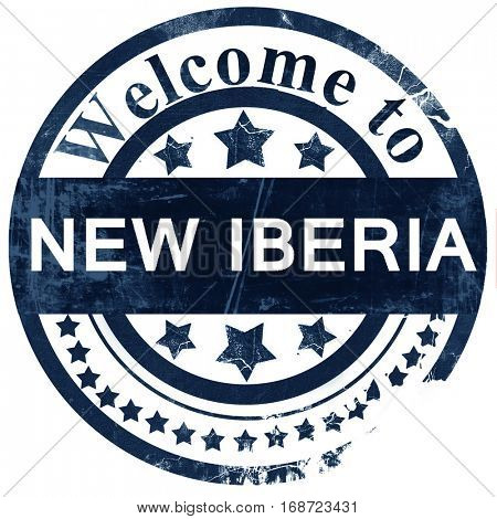 new iberia stamp on white background