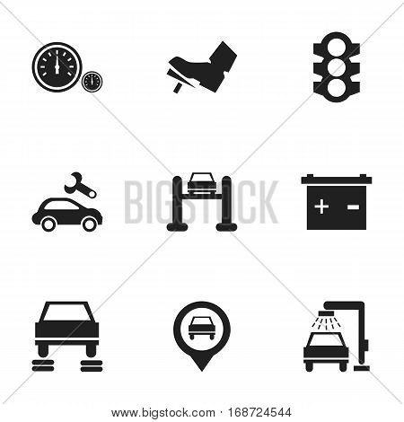 Set Of 9 Editable Traffic Icons. Includes Symbols Such As Treadle, Stoplight, Auto Repair And More. Can Be Used For Web, Mobile, UI And Infographic Design.