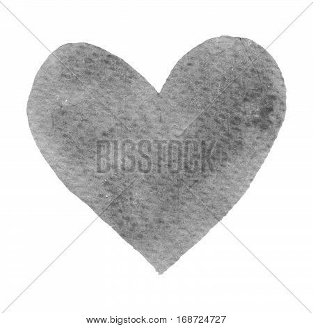 Heart gray painted watercolor. Big grey heart isolated on white background for text design label valentines day. Abstract aquarelle romantic element for card print icon