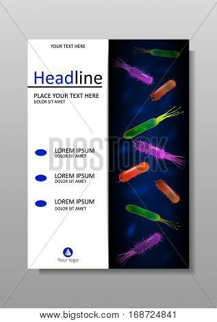 Cover design template with bacteria mix for annual report books website journals brochure magazine flyer poster presentation leaflet catalog portfolio banner academic research. Vector.