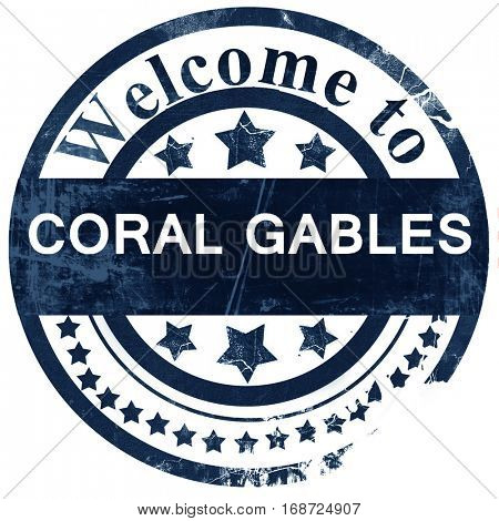 coral gables stamp on white background