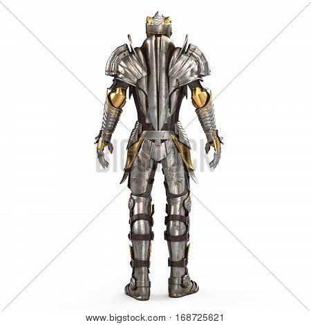 Full fantasy medieval iron suit 3d illustration