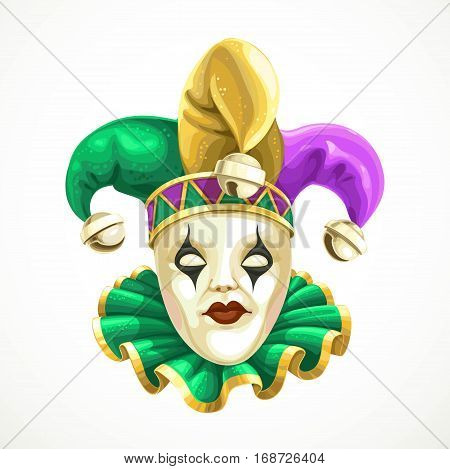 Carnival Mask In A Fool's Cap With Bells Mardi Gras Isolated On White Background