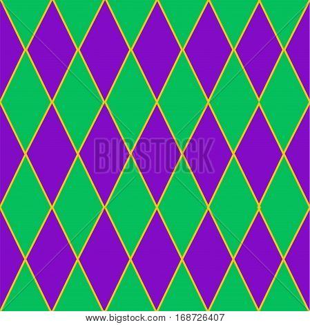Seamless Mardi Gras background in  green and violet diamonds