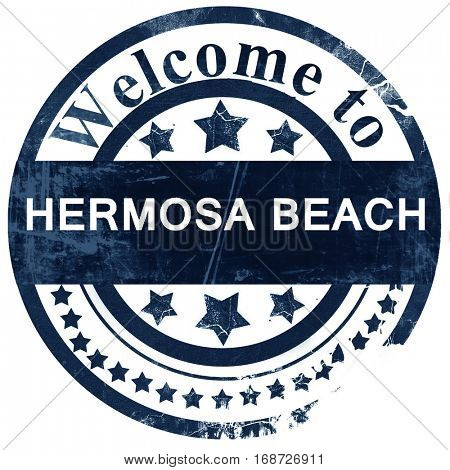hermosa beach stamp on white background