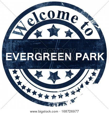 evergreen park stamp on white background