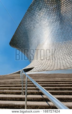 MEXICO CITY,MEXICO - DECEMBER 26, 2016 : The modern Soumaya art museum in Mexico City