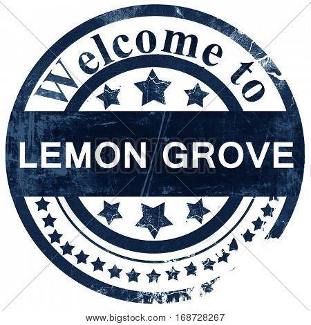 lemon grove stamp on white background