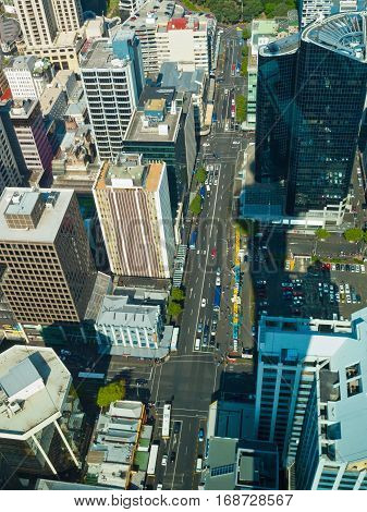 Aerial View Over Auckland Downtown Street In City Center