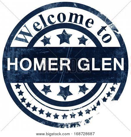 homer glen stamp on white background