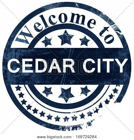 cedar city stamp on white background