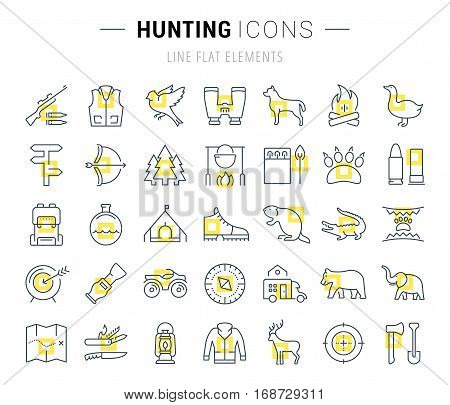 Set vector line icons sign and symbols in flat design hunting with elements for mobile concepts and web apps. Collection modern infographic logo and pictogram.