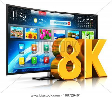 Creative abstract ultra high definition digital television screen technology concept: 3D render illustration of 8K UltraHD resolution internet web curved smart TV cinema or computer PC monitor display isolated on white background with reflection effect