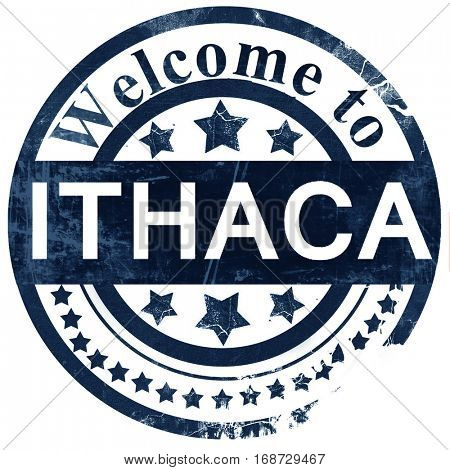 ithaca stamp on white background