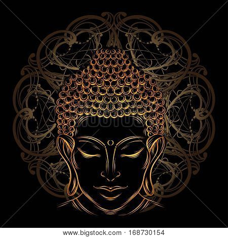 Buddha head - elegant vector illustration. The symbol of Hinduism Buddhism spirituality and enlightenment. Tattoo illustration printing on fabric