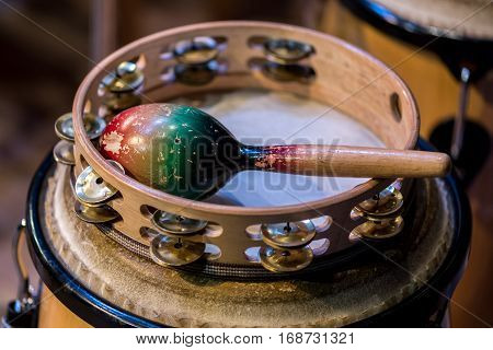 Close view on the traditional instrument rattle