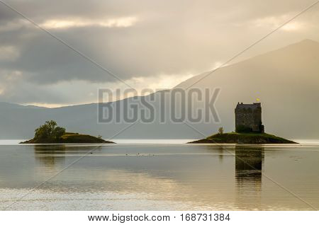 Stalker Castle in morning light Highlands Scotland