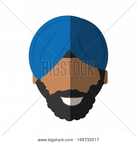 people face israeli man with mustache icon image, vector illustration