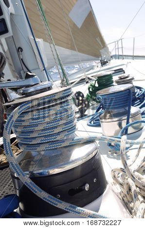 Closeup of winch on the yacht