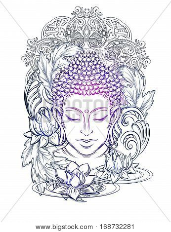 Buddha head - elegant vector illustration. The symbol of Hinduism Buddhism spirituality and enlightenment. Tattoo illustration printing on fabric