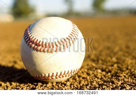 Close-up of Baseball in Infield
