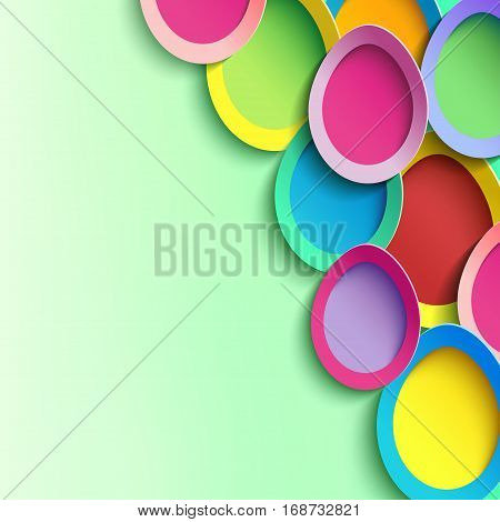 Trendy festive abstract background with 3d colorful Easter egg cutting paper. Greeting or invitation card. Beautiful creative modern wallpaper. Vector illustration