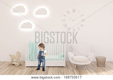 Boy In Kid's Room With Clocks, White Walls