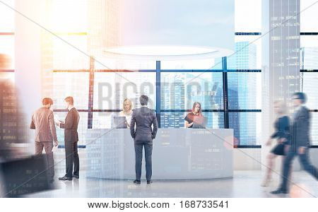 Rear view of people near a round reception desk with columns by its sides. 3d rendering. Toned image. Mock up. Double exposure.