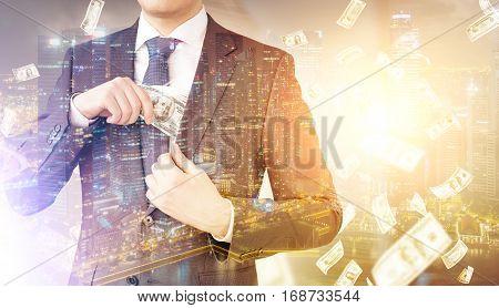 Man Putting Money In Pocket, Dollar Rain
