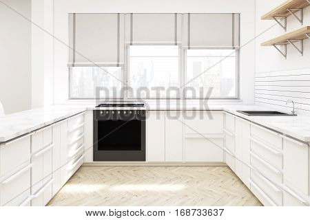 Kitchen With Countertops And Shelves