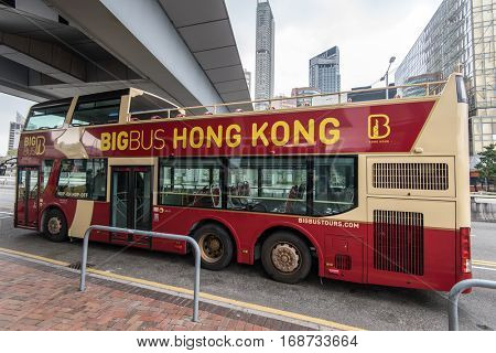 HONGKONG -JANUARY 9 2016: City bus station in Hong Kong on JANUARY 9 2016, Touristic Bus at Hong Kong,Hong Kong is one of the most desired touristic destination in the world