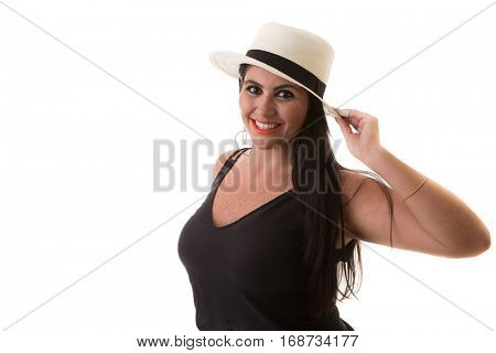 Portrait of a brunette latina, studio shot