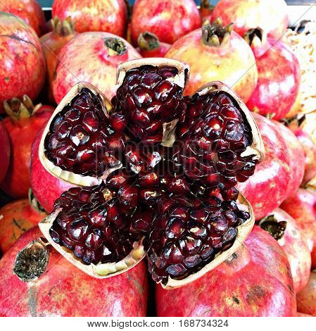 Pomegranate fruit background and wallpaper food fruit
