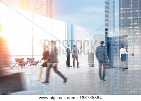Rear view of business people in an elevator hall of their office. There is a reception desk in the corner. Panoramic windows. 3d rendering. Toned image. Mock up. Double exposure.