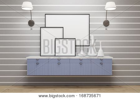 Room With Blue Drawers, Lamps, Posters, Gray Wall